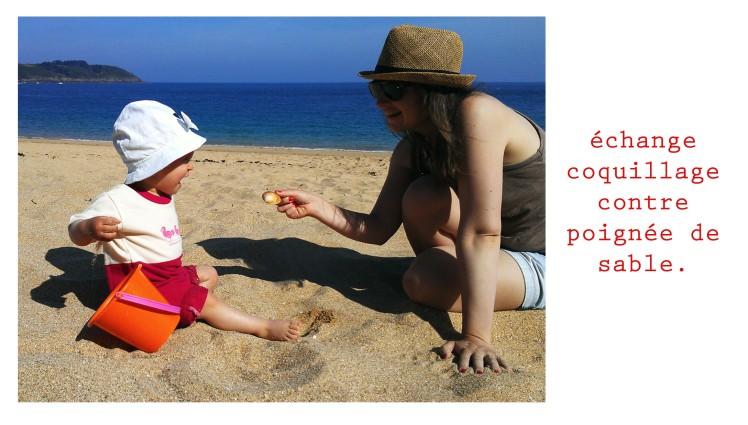 échange coquillage contre poignée de sable