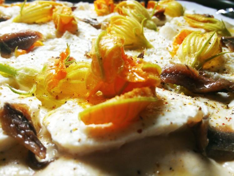 pizza blanche fleur de courgette mozza et anchois