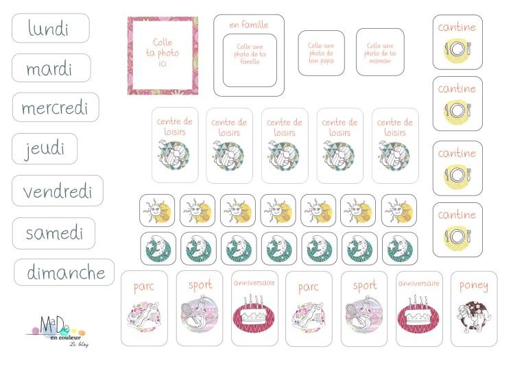 Le semainier des petits -- étiquettes offertes par le blog Made en couleur - Free Printable © 2015