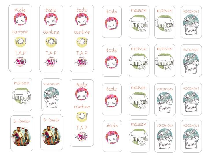 Le semainier des petits -étiquettes offertes par le blog Made en couleur - Free Printable © 2015